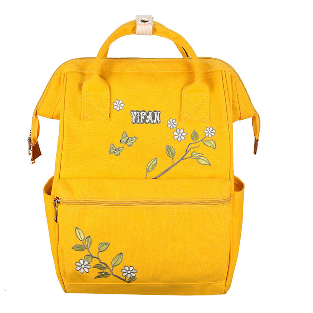 Women's Bags Knowledgeable Canvas Backpack Cute Women Embroidery Backpacks For Teenagers Womens Travel Bags Mochilas Rucksack School Bags Easy To Lubricate