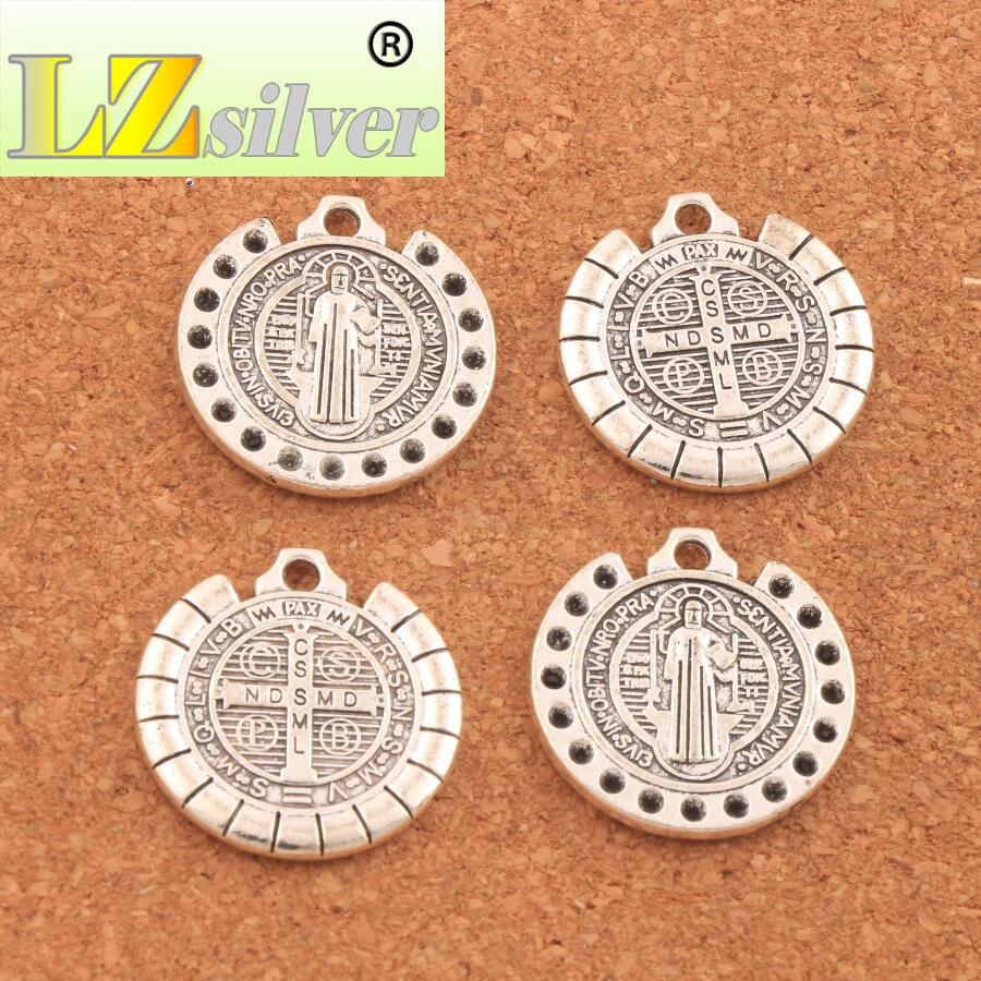 Diamante set Dots Saint St Benedict of Nursia Patron Against Evil Medal Beads 24 5X25 5mm 10PCS Antique Silver Pendants L1831 in Charms from Jewelry Accessories