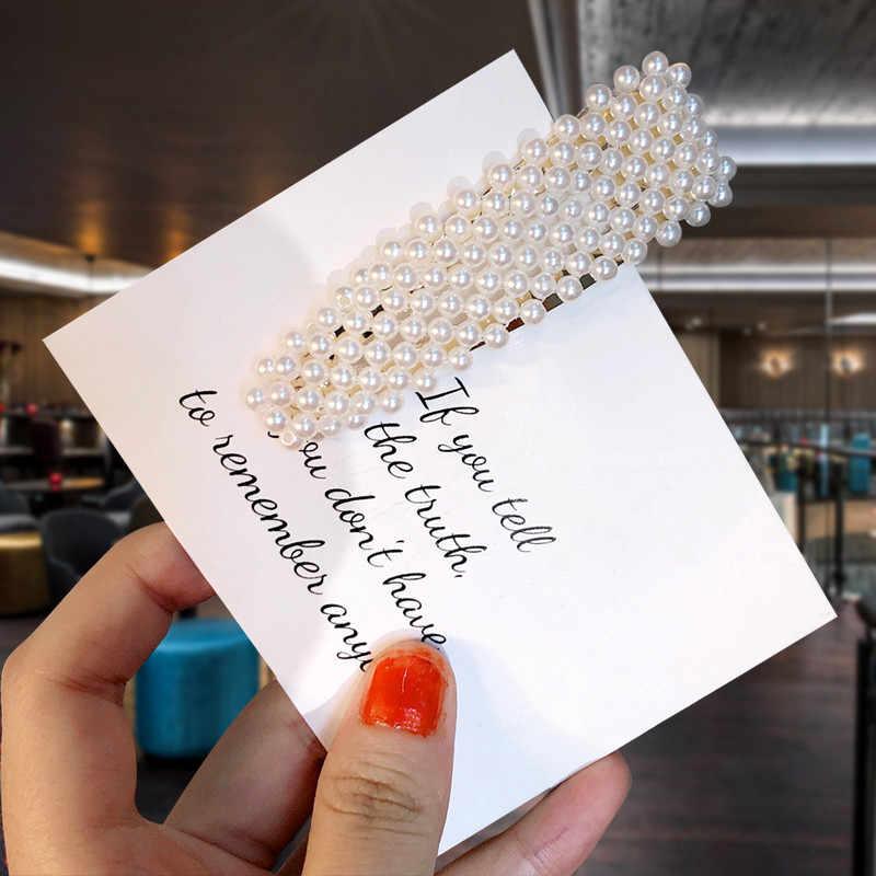 2019 Newest Women Pearl Hair Clip Snap Barrette Elegant Korean Design  Metal Hairpin Hair Styling Accessories Handmade For Girls