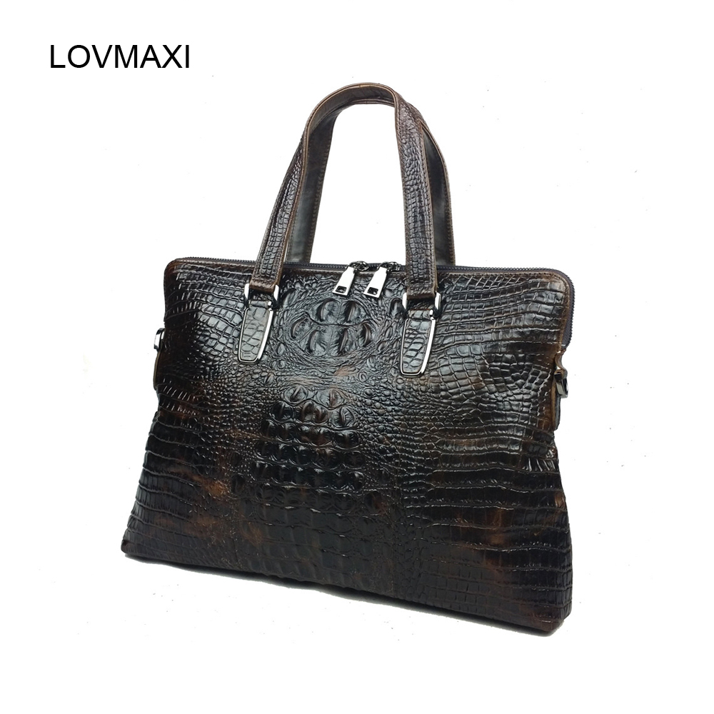 ФОТО Male fashion crocodile briefcase bags Men large handbags genuine leather business bag laptop handbags messenger bags