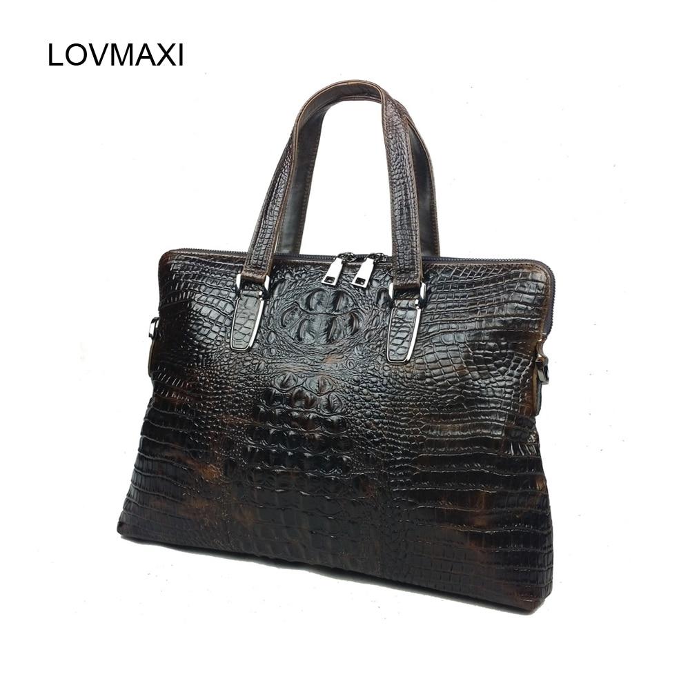 ФОТО Male fashion crocodile briefcase bags Men large handbags genuine leather business bag laptop messenger