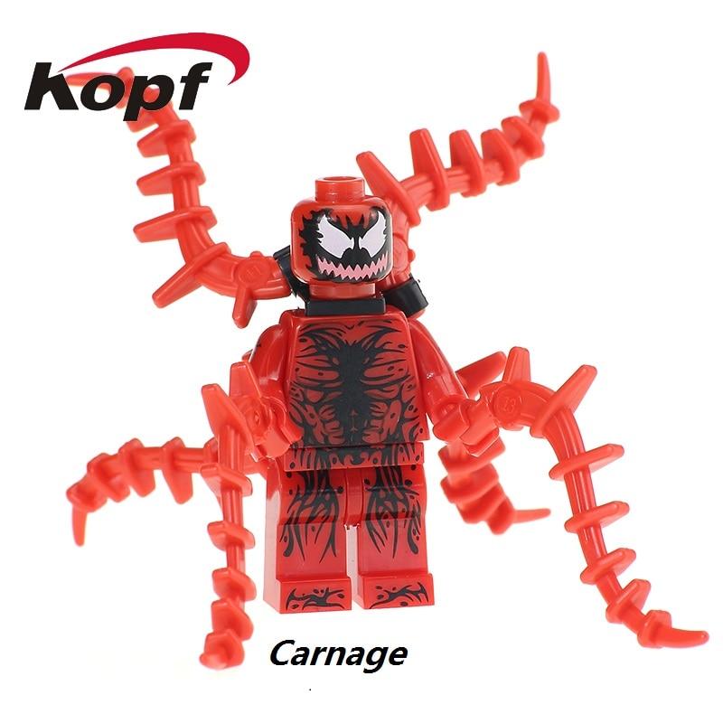 Single Sale Carnage Spiderman Spider-Man Spider Man Super Heroes Bricks Action Figures Building Blocks Children Gift Toys XH 659 пластилин spider man 10 цветов