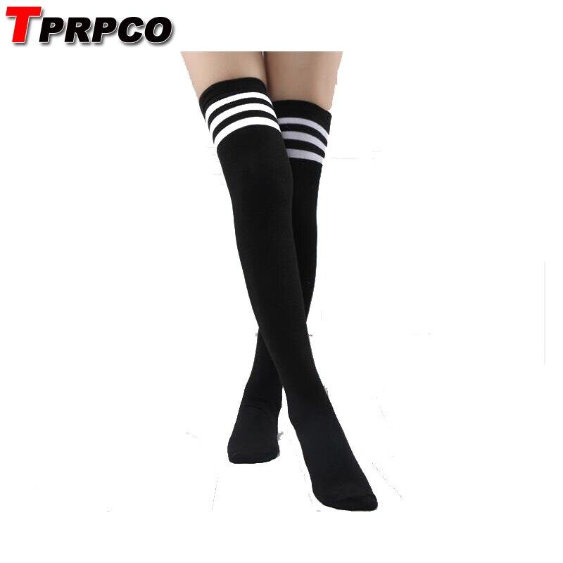 TPRPCO Cosplay Socks Women's Striped Over Knee Girl Lady Black White 3 line Striped Casual Cosplay Cute Style Socks NL447