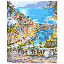 WEEN Blue Sea City Framed DIY Painting By Numbers, Acrylic Paint, Canvas For Wall Decoration Picture, Paint Numbers