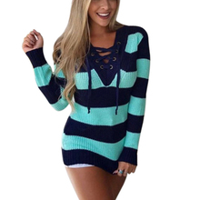 Elegant Winter Striped Womens Sweater Fashion Sexy V Neck Knitted Women Long Sleeve Jumper Pull Femme Harajuku