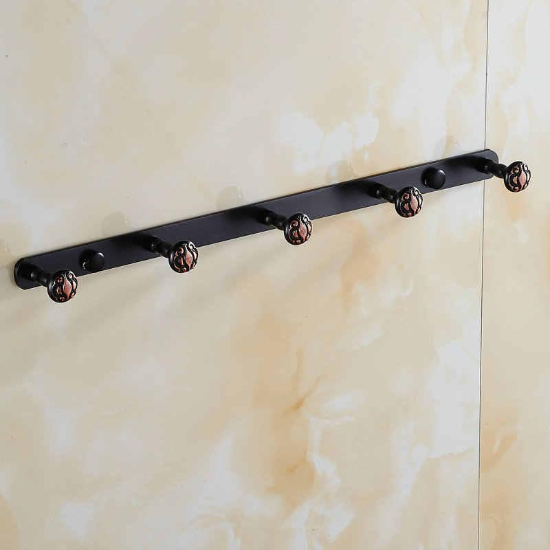 Двойные цветы серии резьба черные крючки для одежды крючок настенный аксессуары для ванной комнаты латунная одежда вешалка дверной ряд Kook