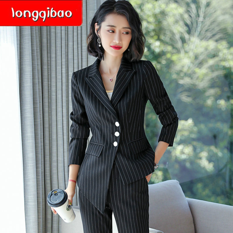 New 2019 Womens Two Piece Sets Tweed Two Piece Set Stripe Outfit Plus Size Korean Version of Temperament Slim Thin Suit