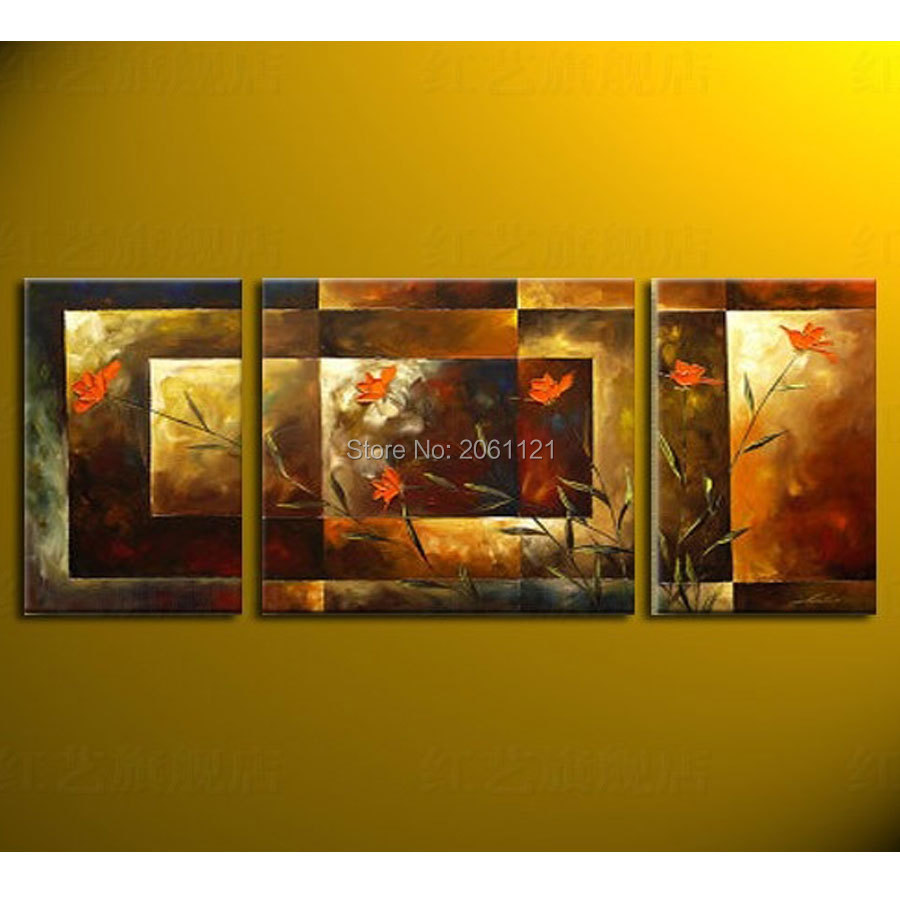 hand painted big size 3pcs set abstract wall art home decor flower murals oil painting on canvas. Black Bedroom Furniture Sets. Home Design Ideas