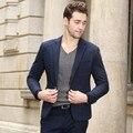 O Envio gratuito de 2016 Mais Recente Projeto Azul Cego Pote Impressão Tecido Casaco de lã Homens Terno botão jaqueta blazer ocasional luxo Fechamento