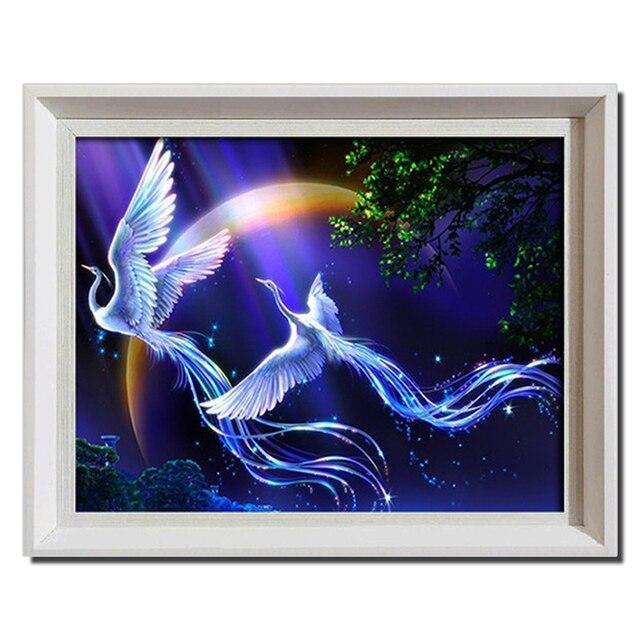 45*38cm d diy diamond painting animals birds phoenix cross stitch round rhinestone pictures of crystals  embroidery patchwork