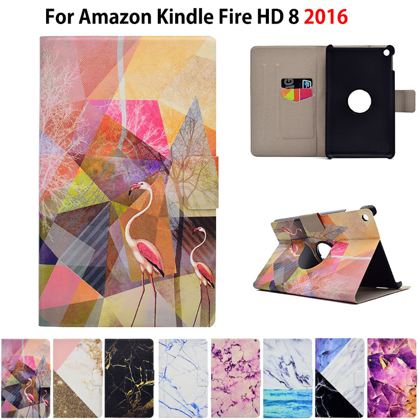 Marble Pattern eBook Case For Amazon New Kindle Fire HD 8 2016 6th Generation 8 inch Smart Cover Tablet Stand PU Leather Funda for amazon kindle fire hd 8 hd8 2016 8 0 inch tablet shockproof case for amazon fire hd8 2016 kids baby safe back cover fundas