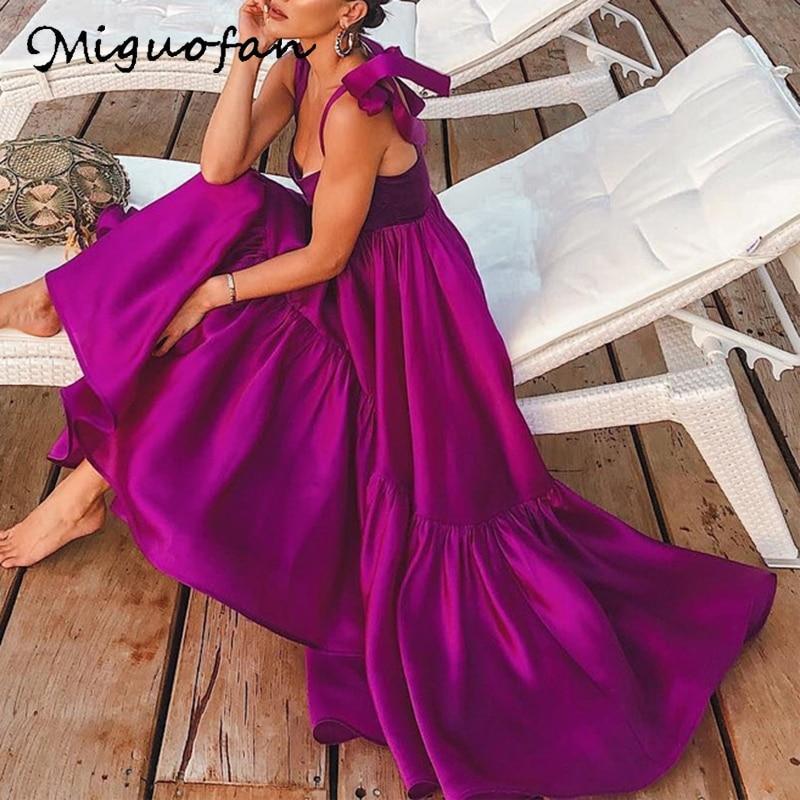 Miguofan Spaghetti Strap Long Boho Dress Women Elegant Party Night Slash Neck Solid Loose Summer Dresses Female 2019