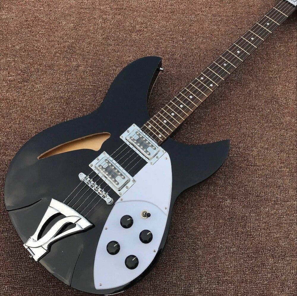 Nouveauté rickenback 360 guitare électrique Ricken 325 corps creux jazz guitare électrique Rick guitare personnalisée en couleur noire