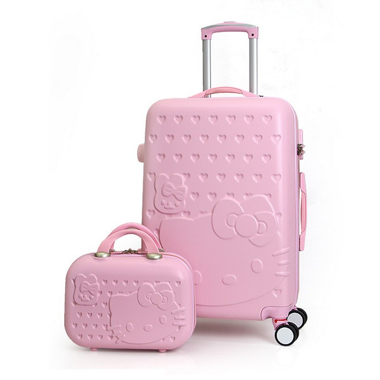 eeb34026ba 2PCS/SET Lovely 14inch Cosmetic bag hello Kitty luggage girl students  trolley case Travel luggage