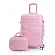 2PCS/SET Lovely 14inch Cosmetic bag hello Kitty luggage girl students trolley case Travel luggage woman rolling suitcase