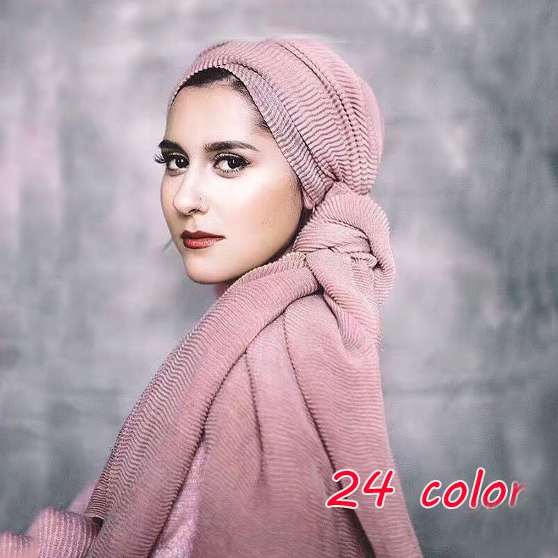 LMLAVEN Women's Pleated Crinkle Hijab   Scarf   Ripple Wrinkled hijab plain muslim head   wrap     scarves   cotton viscose shawls 24 color