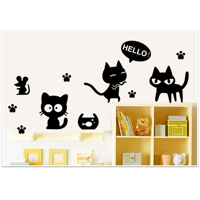 1PCS Creative Black Cats Removable Wall Decal Sticker DIY Wallpaper Paste Stickers Art Home