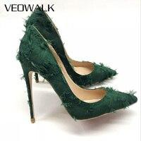 Veowalk Tassel Women Distressed Canvas High Heels Fashion Sexy Ladies Slip On Pointed Toe Pumps Wedding Bridal Stiletto Shoe