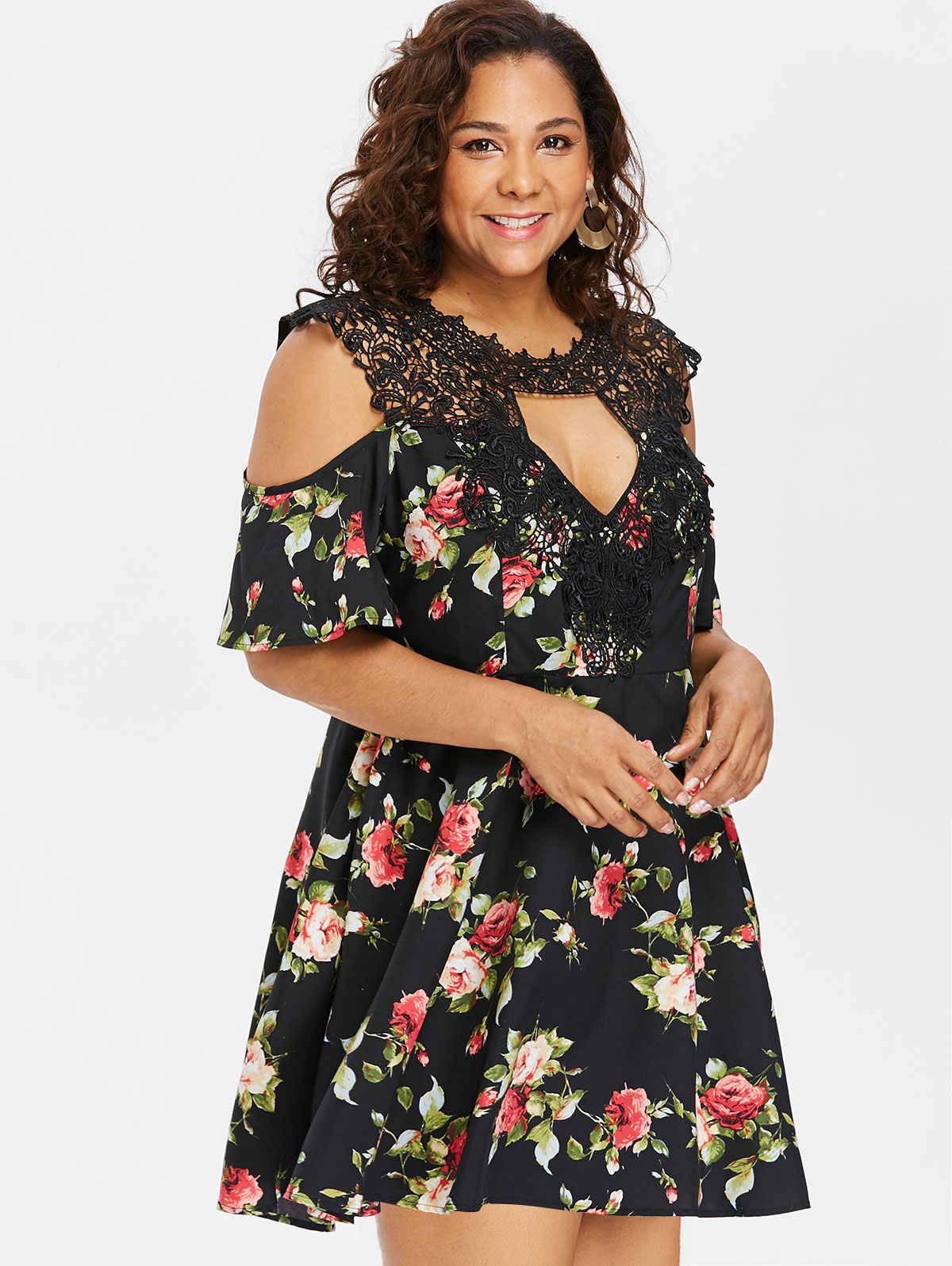 Wipalo плюс Размеры кружевной отделкой с цветами и с рукавами с воланами платье с вырезом «капля» до колена Длина ТРАПЕЦИЕВИДНОЕ летнее платье с коротким и широким подолом 5XL платья больших размеров