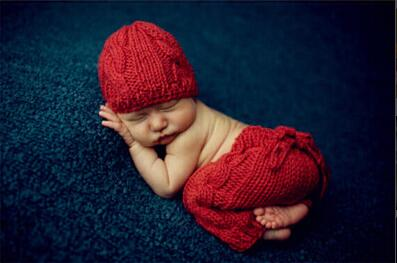 0-1M or 3-4M Newborn Baby Photography Props Infant Knit Crochet Costume Blue Striped Soft Outfits Elf Button Beanie+Pants