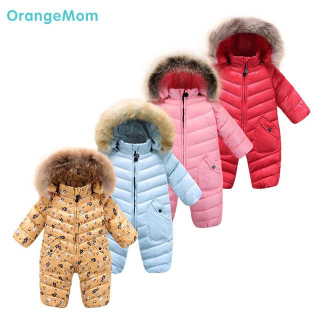 Moda 7 colores de invierno mono del bebé! 9 m-30 m pato abajo prendas de abrigo de bebé clothing overoles térmicos chaqueta trajes para la nieve,