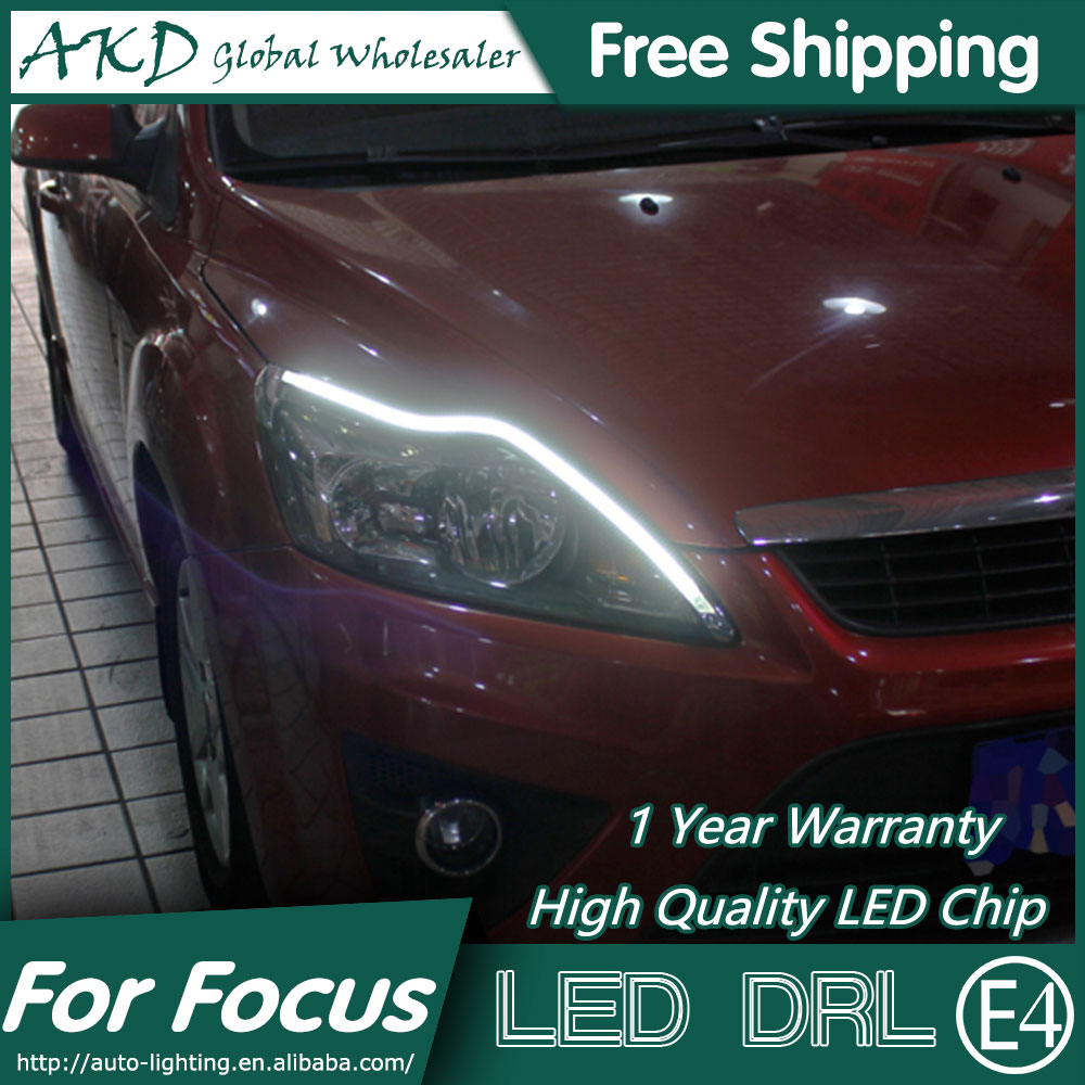AKD Car Styling LED DRL for Ford Focus 2009-2011 Focus 2 Eye Brow Light LED External Lamp Signal Parking Accessories akd car styling led drl for kia k2 2012 2014 new rio eye brow light led external lamp signal parking accessories