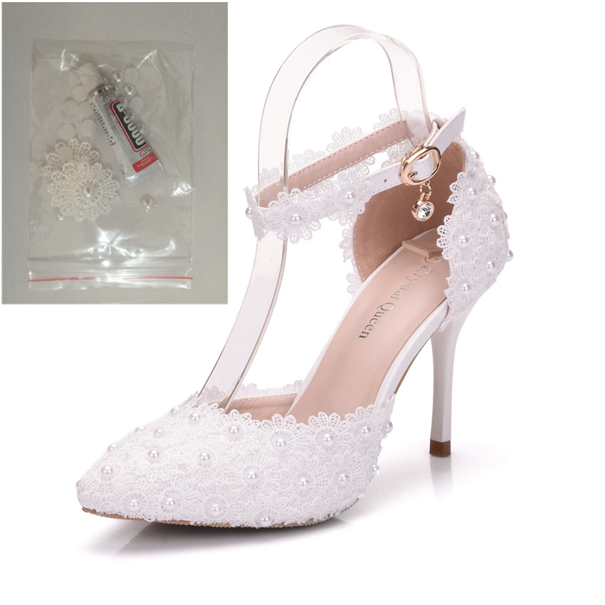 Womens large size pointed lace high heels