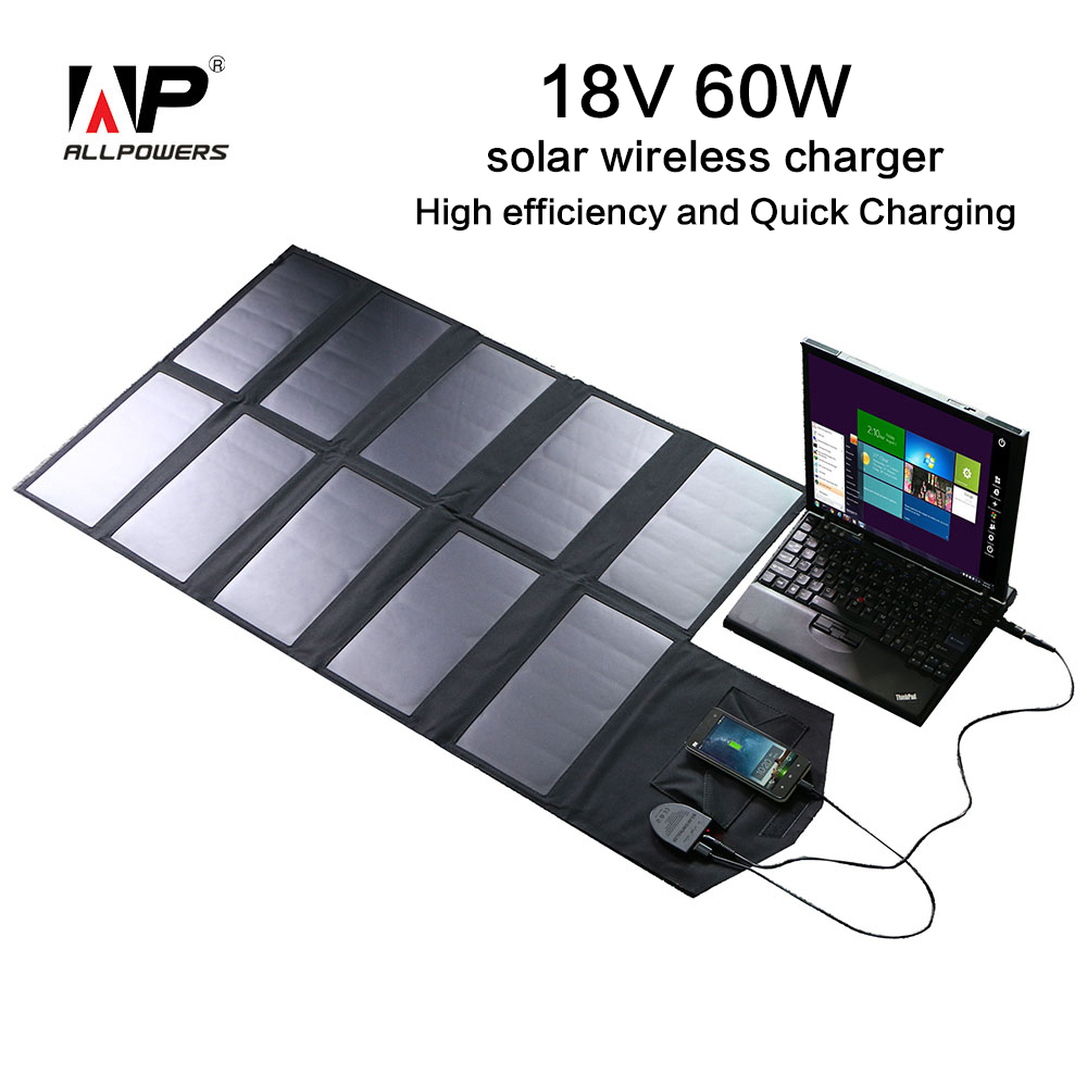 ALLPOWERS Folding Portable Solar Charger 60W Dual Output Ports Solar Panel Laptop Charger Solar Tablet Charger Phone Charger.