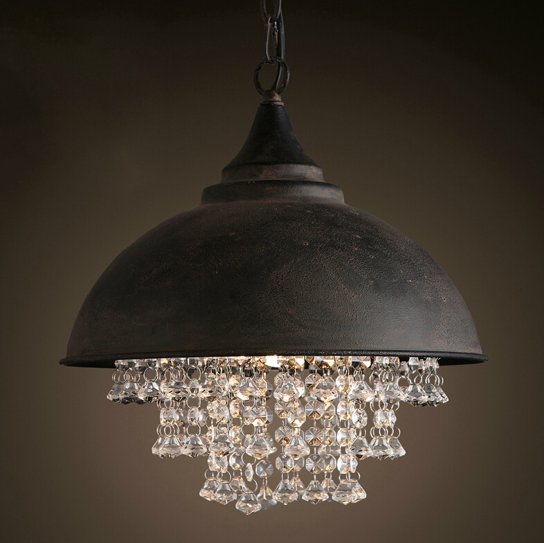 Vintage industrial loft crystal archaize rust color iron cover pendant light luxury living room hotel decorative hanging lamp