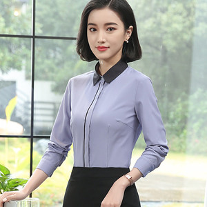 Image 5 - Spring New White Shirt Women Fashion Formal Business Patchwork Long Sleeve Slim Chiffon Blouses Office Ladies Plus Size Tops