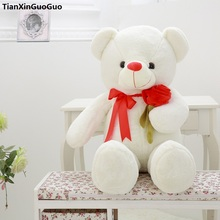 large 75cm white teddy bear plush toy rose flower design cute bear soft doll throw pillow birthday gift s0915