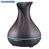 Aroma Essential Oil Diffuser Ultrasonic Air Humidifier Aromatherapy 400mL Cool Mist Maker Diffuser Wood Grain 7