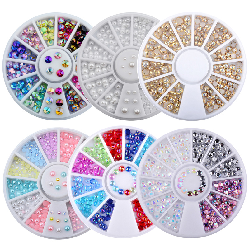 1 Box AB Colorful Nail Glitter Rhinestones 3d Charm Pearl Beads Tips Decorations In Wheels For DIY UV Gel  Nail Art Accessorie random color nail rhinestones wheel 2mm acrylic nail art rhinestones decoration for uv gel polish deco diy nail tools
