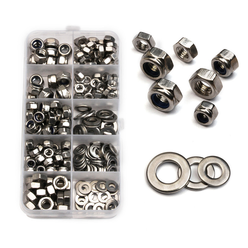 255PCS/Box M4 M5 M6 Hexagon Stainless Steel Lock Nuts Flat Washers Screw Nut Metal Ring Gaskets Plain Washer Assortment Kit factory direct sales stainless steel hexagon socket head cap screw single coil spring lock washer and plain washer assemblies