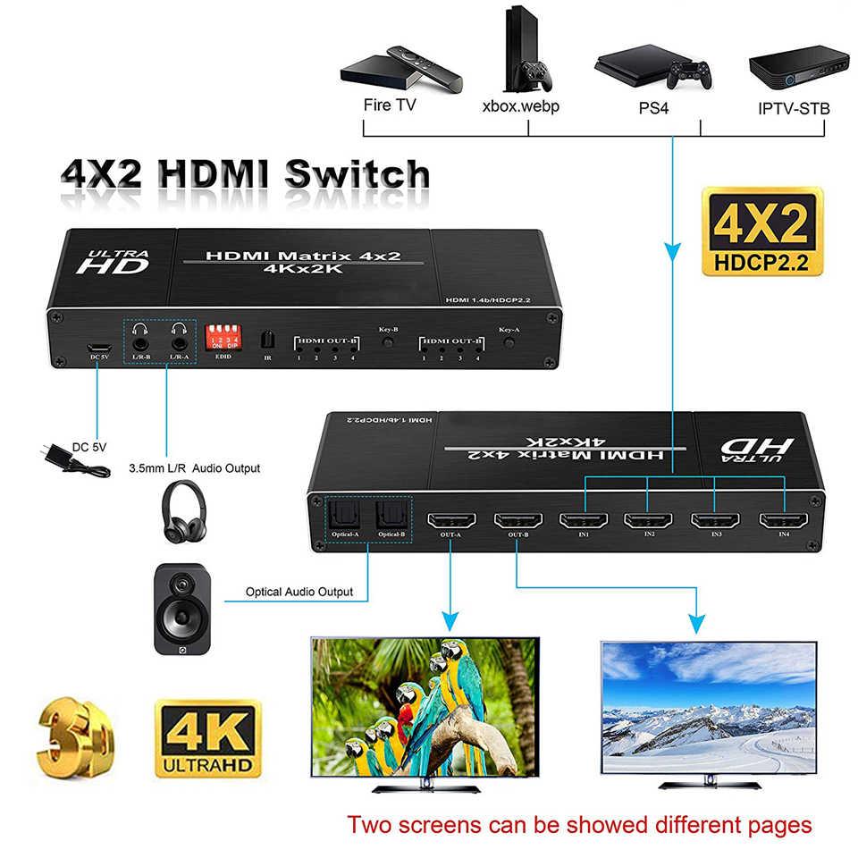 2019 4K HDMI Matrix 4x2 Schalter Splitter Unterstützung HDCP 2,2 IR Fernbedienung HDMI Schalter 4x2 Spdif 4K 30Hz HDMI 4x2 Matrix Schalter
