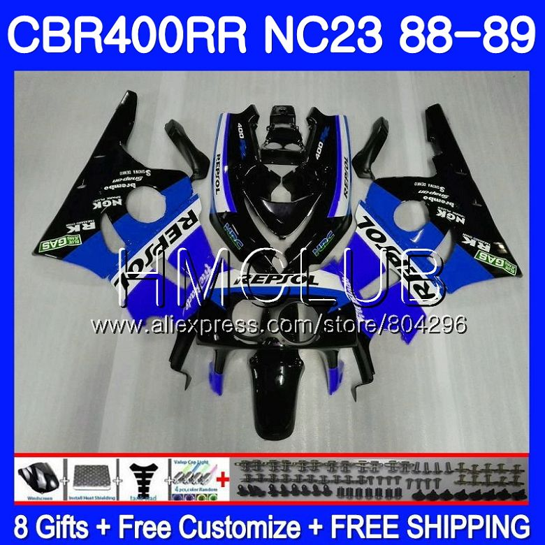 NC23 Pour HONDA CBR 400RR 400 RR CBR400 RR Repsol Bleu 88 89 90 91 92 93 89HM22 CBR400RR 1988 1989 1990 1991 1992 1993 Carénages