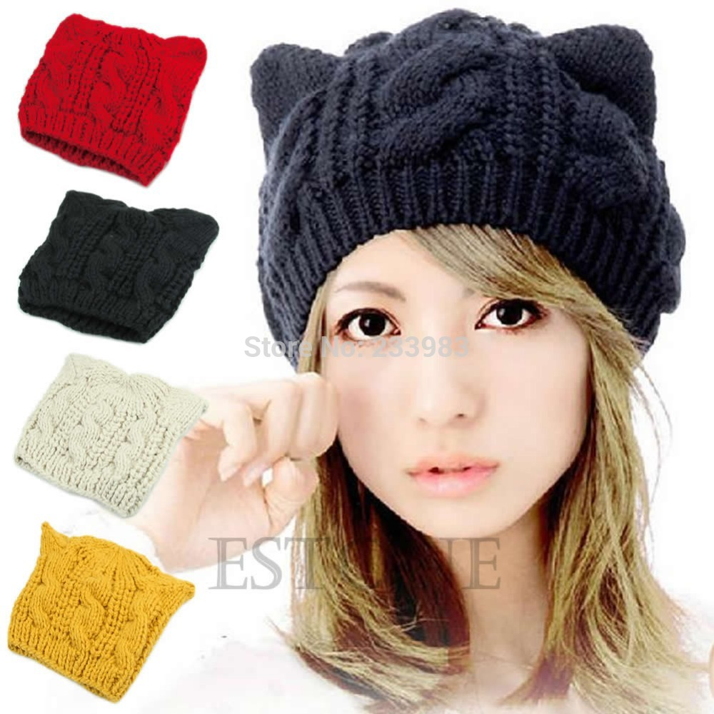 Livraison Gratuite Hiver Beanie Diable Cornes Chat Oreille Crochet Tricot  Tressé Femmes Ski Bonnet de Laine Chapeau d000c946601