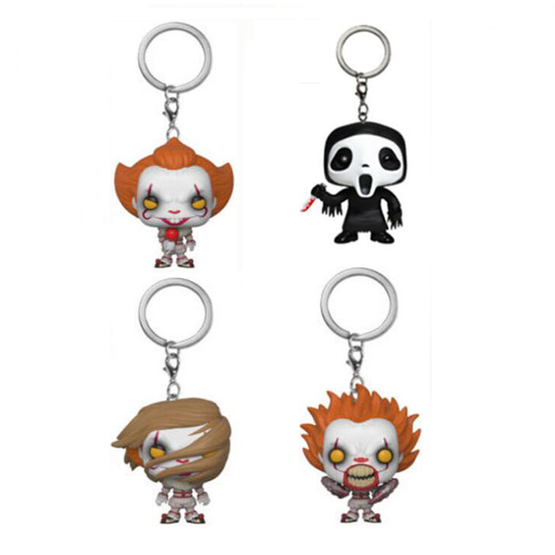 Movie Stephen King's It Joker Clown Character PENNYWISE Scary Movie Ghoset Face Vinyl Keychain Figure Toys With Retail Box