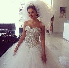 Shiny Full Crystal Beading Sweetheart Ball Gown Wedding Dresses Bridal vestidos de novia 2015