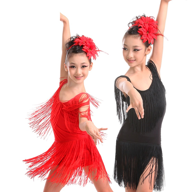 latin kids dance ballroom dancing competition tango skirts and dresses salsa children for girls fringe cha cha dance dress girl