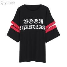 ea6d32f23a8 Qlychee Summer Women Harajuku Streetwear Tee Top Patckwork Sleeve Ring T  shirt Letter Print Casual Loose