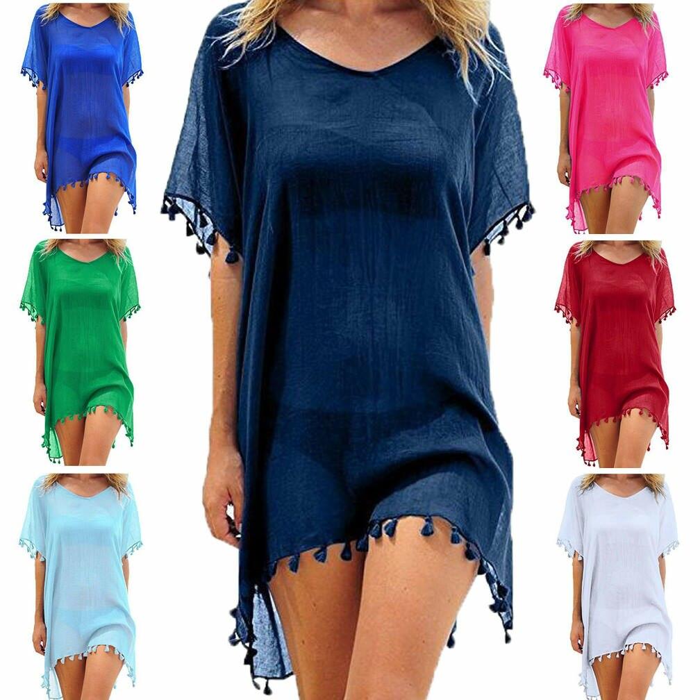 Women Beach Cover Up Lace Hollow Crochet Swimsuit Beach Dress Women 2019 Summer Ladies Cover-Ups Bathing Suit Beach Wear Tunic