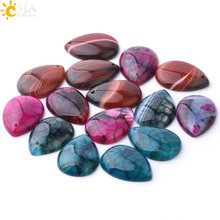 CSJA Natural Stripe Agates Pendant Water Drop Shaped Flat Beads with Hole for Women Men DIY Necklace Handmade Charm Jewelry F905(China)