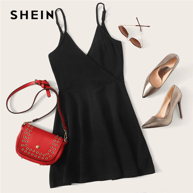 SHEIN Black Party Sexy Backless Solid Wrap Sleeveless Natural Waist Cami Short Dress Summer Club Night Out Women Dresses 3