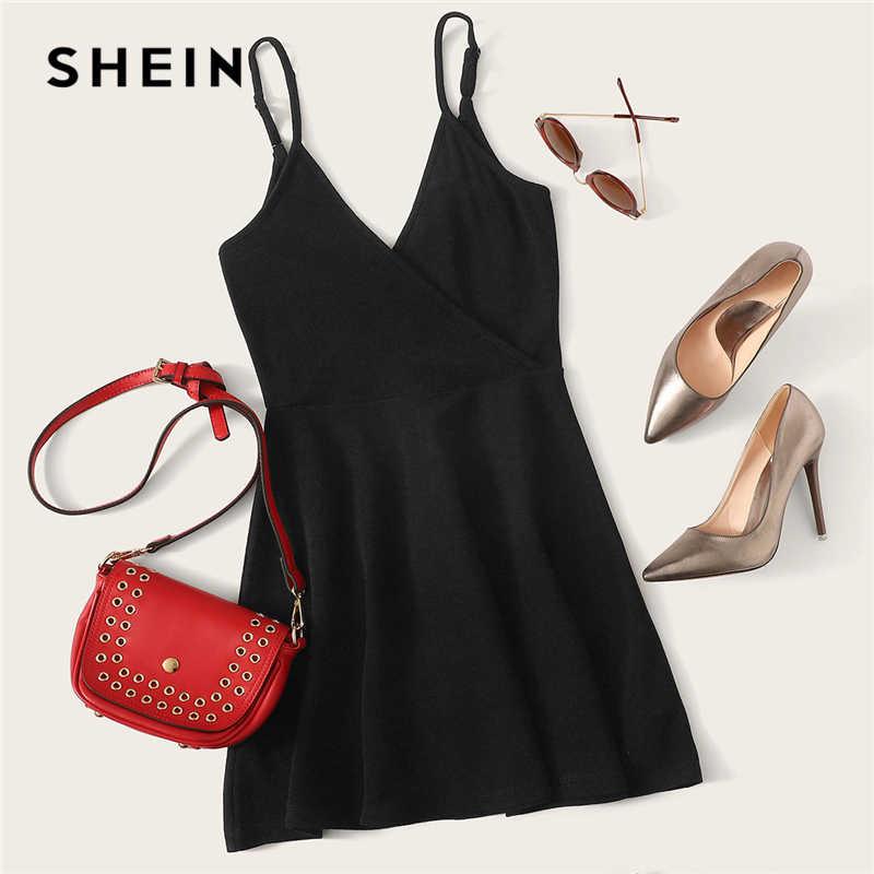 Чёрные вечерние платья SHEIN с открытой спиной, без рукавов, с естественной талией, короткое платье, летние, Клубные, вечерние, женские платья