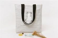 2017 New casual women bag Women Shoulder Bags Women Bag Striped women shoulder handbag Cat Cute Simple Messenger Bag Bolsa
