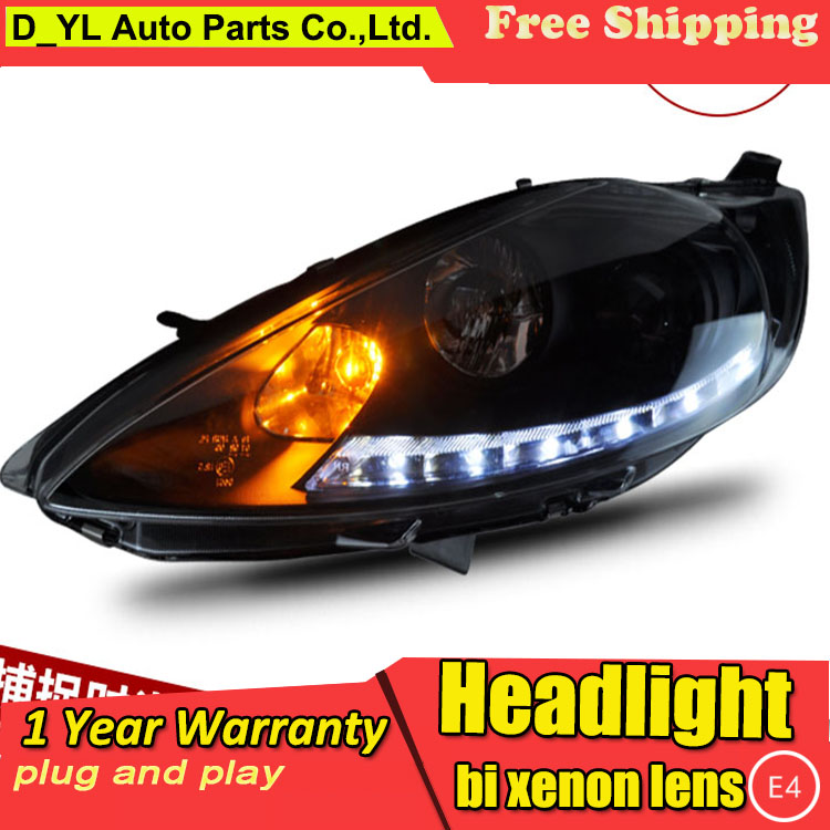 D YL Car Styling for Ford Fiesta Headlights 2009 2012 Fiesta LED Headlight DRL Lens Double