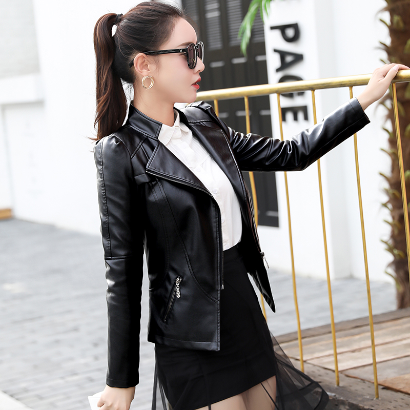 Women Short Pu   Leather   Jacket 2018 Spring and Autumn Ladies New Long-sleeved Slim Jacket Motorcycle   Leather   Jacket Women Coat