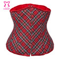 Red Plaid Underbust Corset Lace Up Back Waist Cincher Corsets and Bustiers Burlesque School Girl Costume Sexy Gothic Lingerie