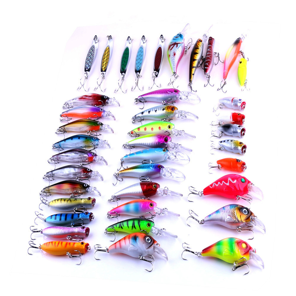 39pcs Mixed Hard Minnow Popper Crankbaits Bass Wobbler Trolling Spinnerbaits Pike Carp Trout Perch Pesca Fishing Tackles wldslure 1pc 54g minnow sea fishing crankbait bass hard bait tuna lures wobbler trolling lure treble hook